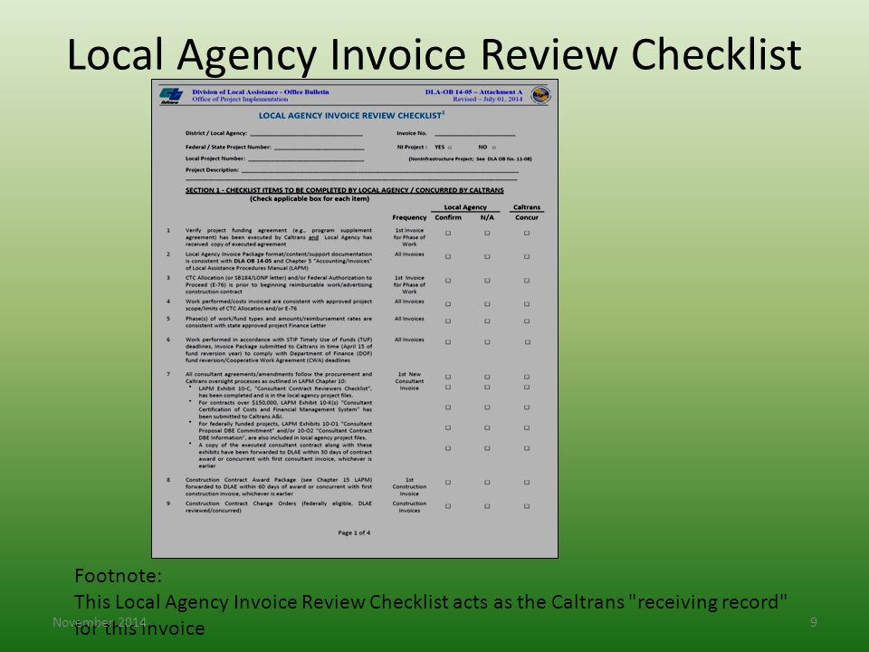 Local Agency Invoice Review Checklist Footnote: This Local Agency Invoice Review Checklist acts as the Caltrans