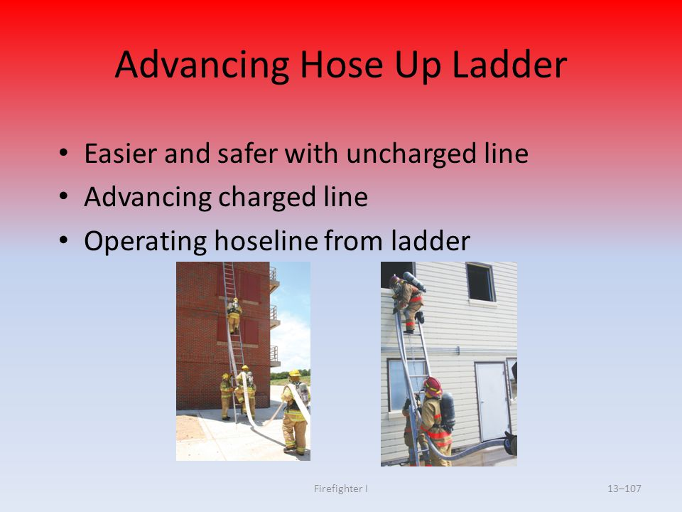 Firefighter I13–107 Advancing Hose Up Ladder Easier and safer with uncharged line Advancing charged line Operating hoseline from ladder