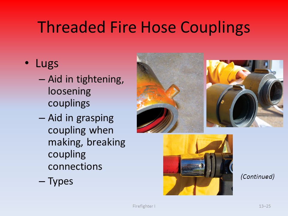 Firefighter I13–25 Threaded Fire Hose Couplings Lugs – Aid in tightening, loosening couplings – Aid in grasping coupling when making, breaking couplin