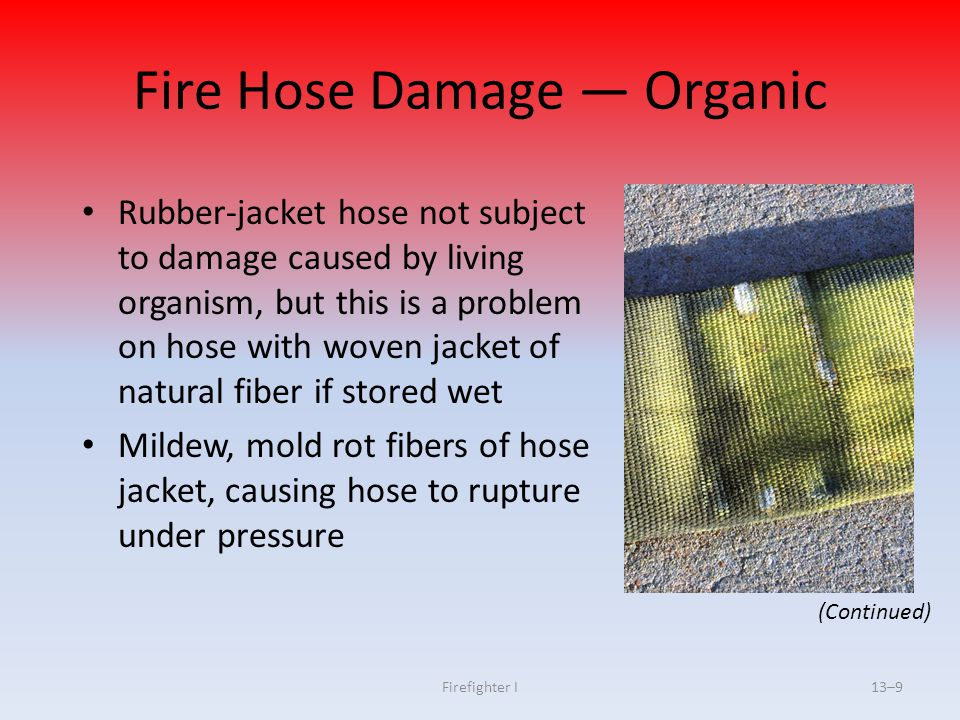 Firefighter I13–100 DISCUSSION QUESTION Why should hose be uncharged when advancing up a stairway?