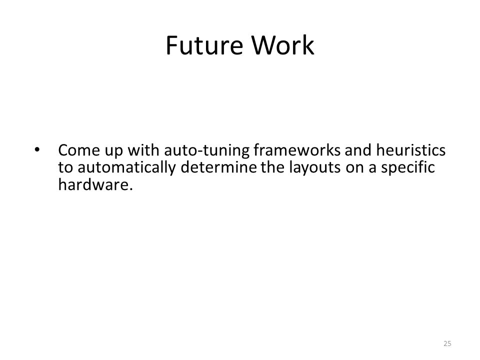 Future Work Come up with auto-tuning frameworks and heuristics to automatically determine the layouts on a specific hardware. 25