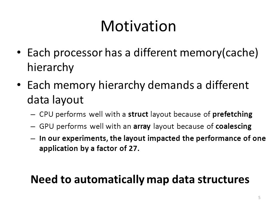 Motivation Each processor has a different memory(cache) hierarchy Each memory hierarchy demands a different data layout – CPU performs well with a str