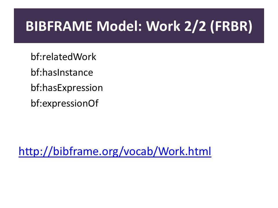 BIBFRAME Model: Work 2/2 (FRBR) bf:relatedWork bf:hasInstance bf:hasExpression bf:expressionOf http://bibframe.org/vocab/Work.html