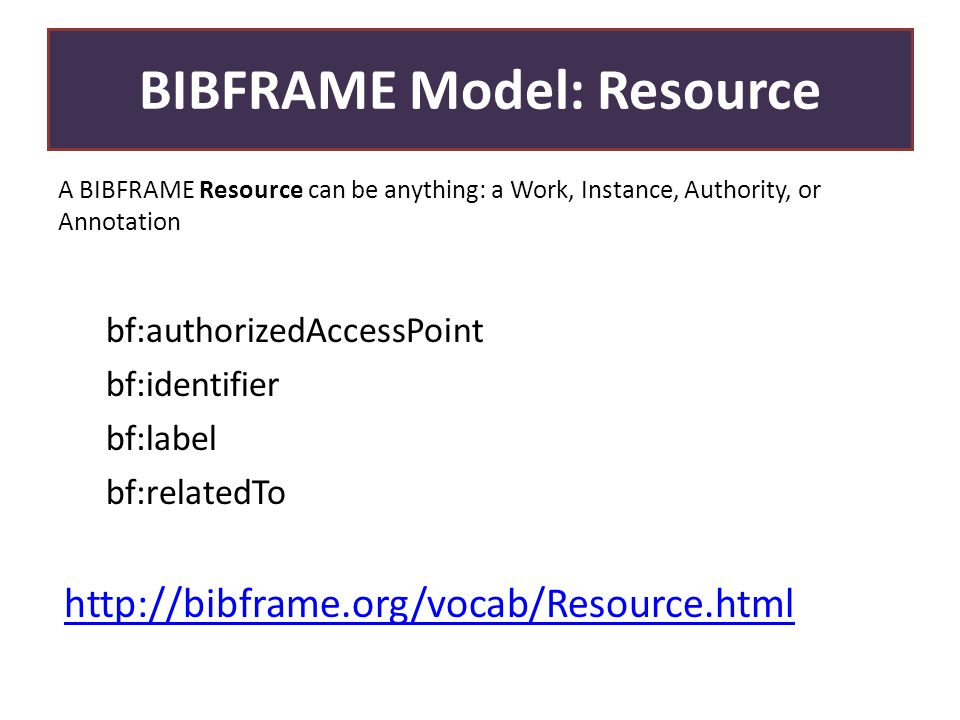 BIBFRAME Model: Resource A BIBFRAME Resource can be anything: a Work, Instance, Authority, or Annotation bf:authorizedAccessPoint bf:identifier bf:label bf:relatedTo http://bibframe.org/vocab/Resource.html