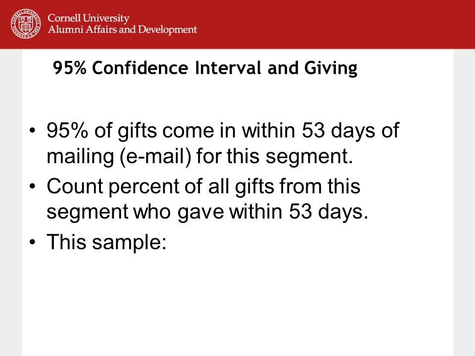 95% Confidence Interval and Giving 95% of gifts come in within 53 days of mailing (e-mail) for this segment.