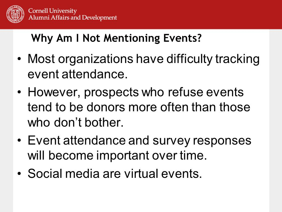 Why Am I Not Mentioning Events. Most organizations have difficulty tracking event attendance.