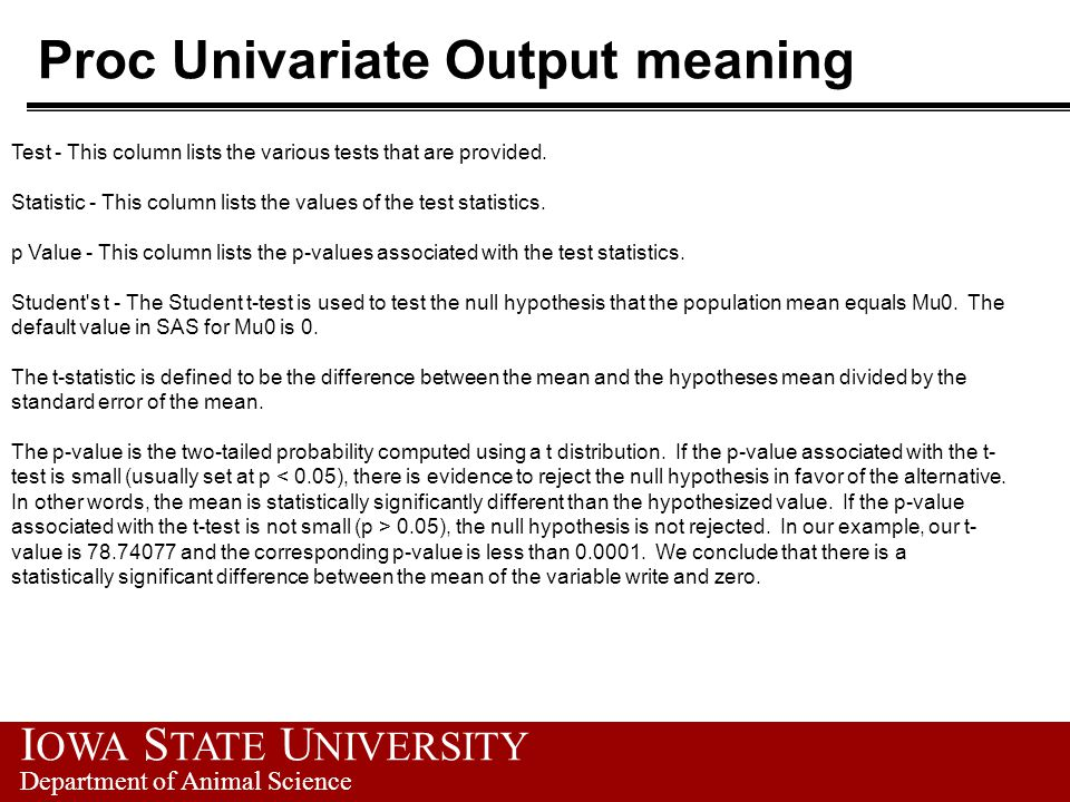 I OWA S TATE U NIVERSITY Department of Animal Science Proc Univariate Output meaning Test - This column lists the various tests that are provided.