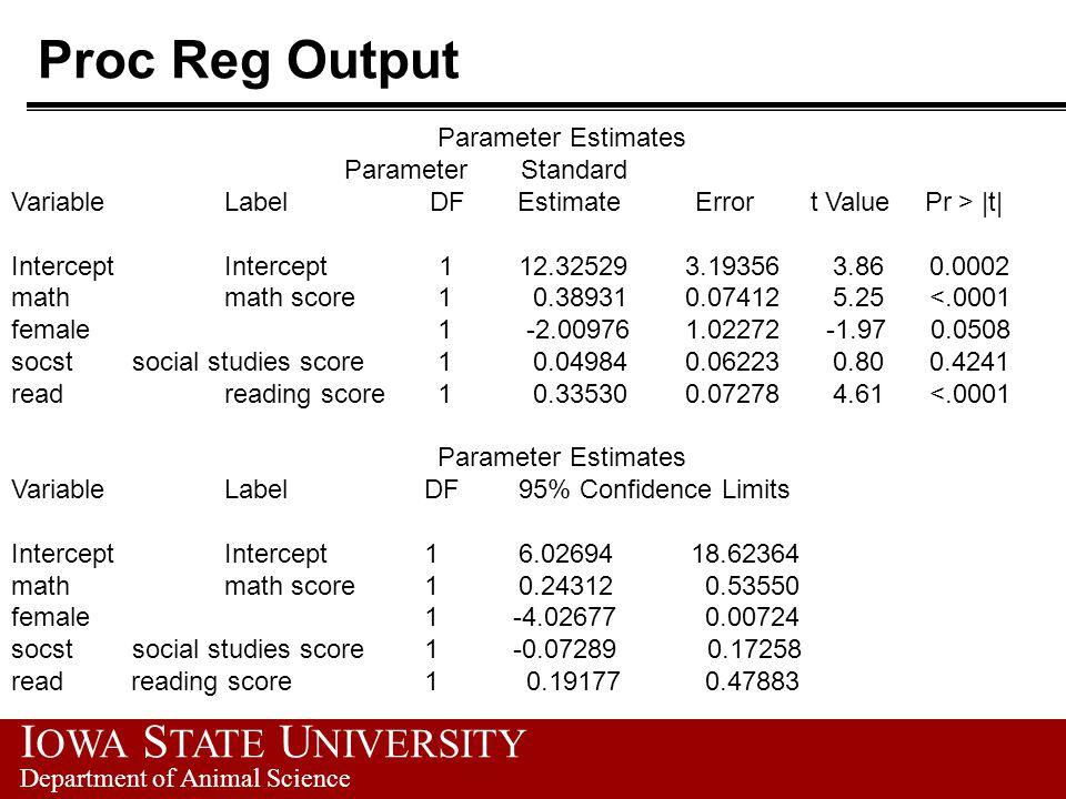 I OWA S TATE U NIVERSITY Department of Animal Science Proc Reg Output Parameter Estimates Parameter Standard Variable Label DF Estimate Error t Value Pr > |t| Intercept Intercept 1 12.32529 3.19356 3.86 0.0002 math math score 1 0.38931 0.07412 5.25 <.0001 female 1 -2.00976 1.02272 -1.97 0.0508 socst social studies score 1 0.04984 0.06223 0.80 0.4241 read reading score 1 0.33530 0.07278 4.61 <.0001 Parameter Estimates Variable Label DF 95% Confidence Limits Intercept Intercept 1 6.02694 18.62364 math math score 1 0.24312 0.53550 female 1 -4.02677 0.00724 socst social studies score 1 -0.07289 0.17258 read reading score 1 0.19177 0.47883