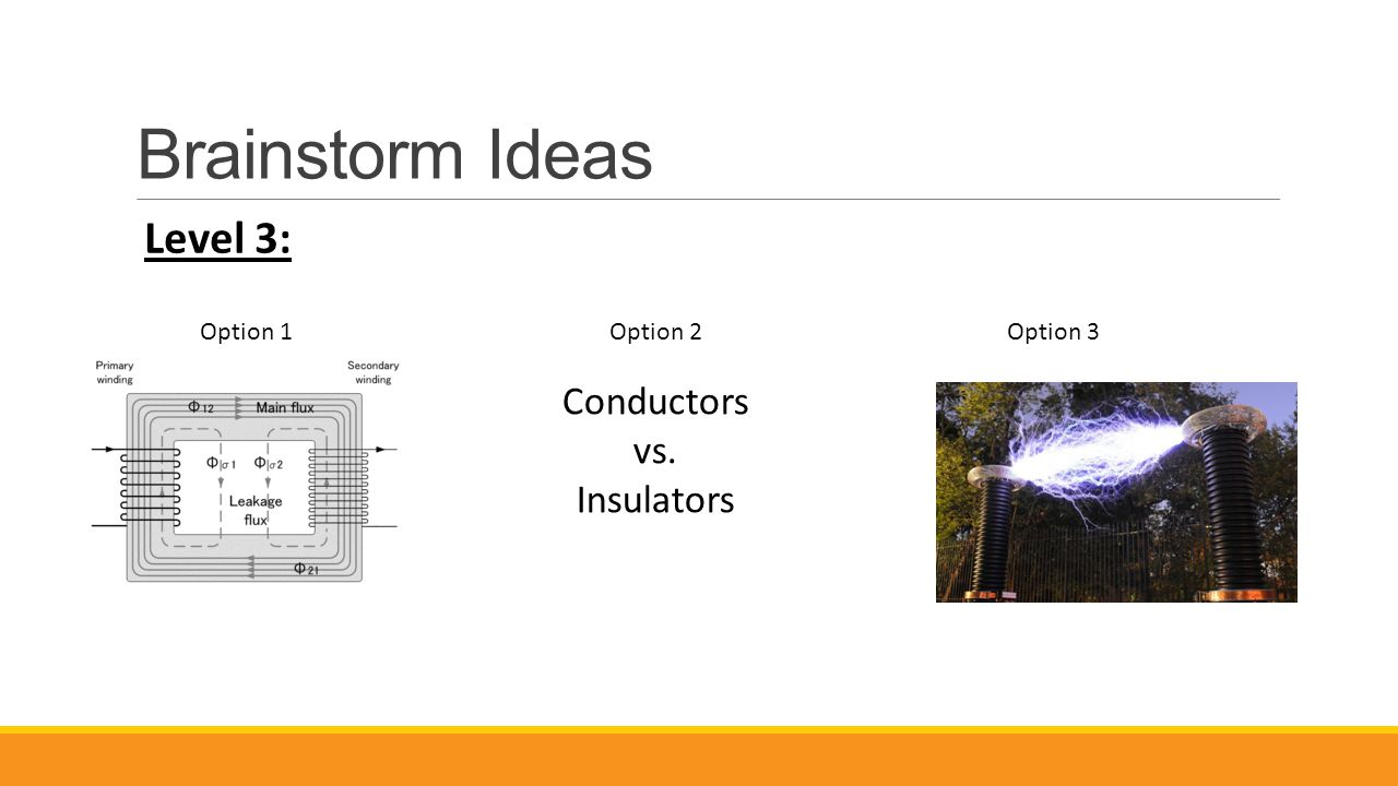 Brainstorm Ideas Level 3: Option 1Option 2Option 3 Conductors vs. Insulators