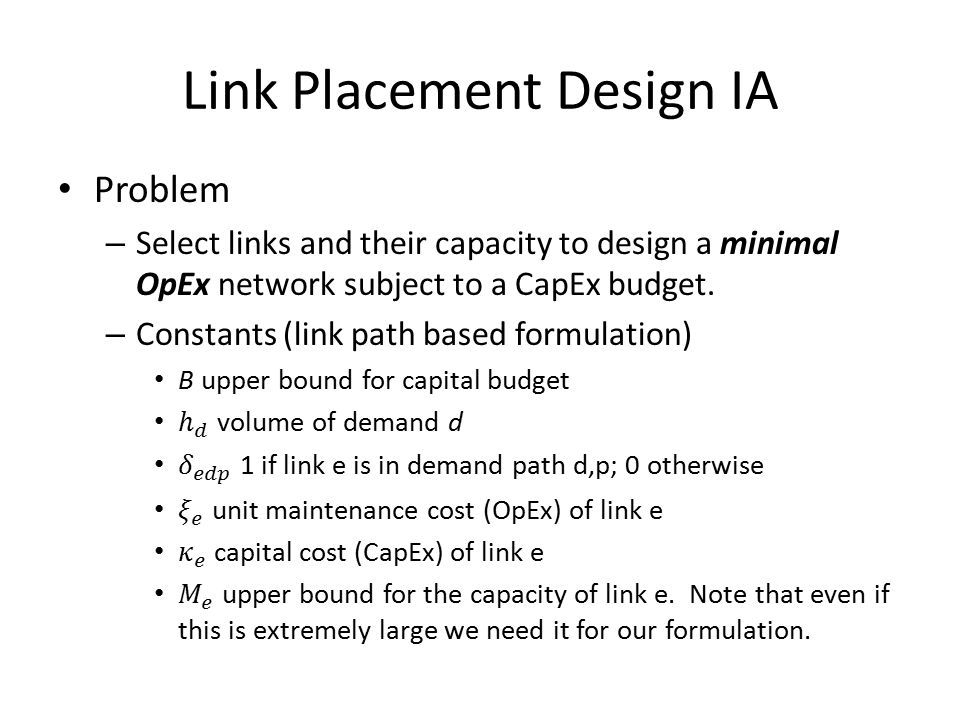 Link Placement Design IA