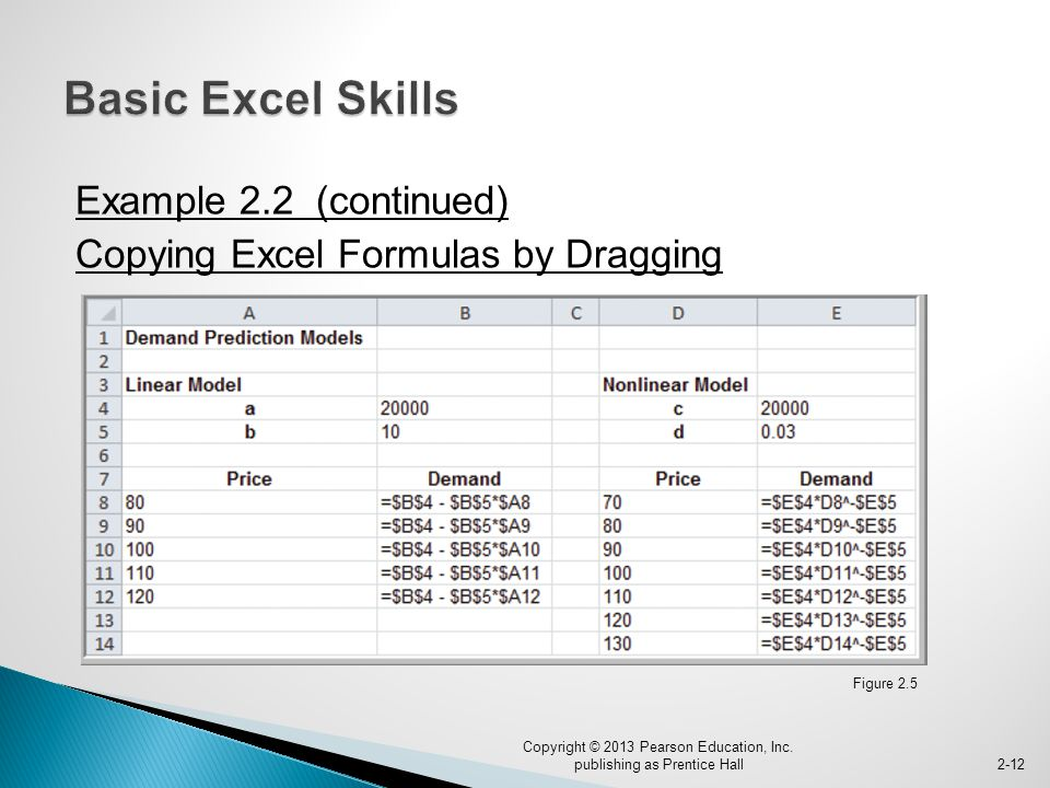 Example 2.2 (continued) Copying Excel Formulas by Dragging Copyright © 2013 Pearson Education, Inc.