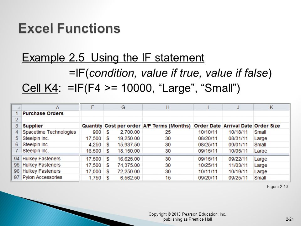 Example 2.5 Using the IF statement =IF(condition, value if true, value if false) Cell K4: =IF(F4 >= 10000, Large , Small ) Copyright © 2013 Pearson Education, Inc.