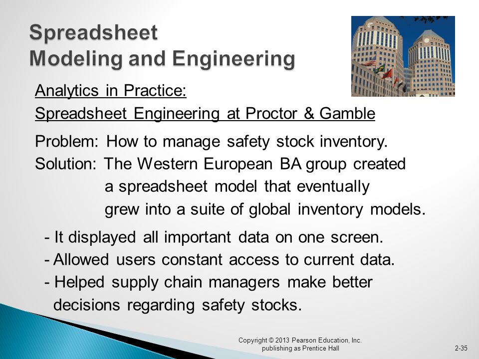Analytics in Practice: Spreadsheet Engineering at Proctor & Gamble Problem: How to manage safety stock inventory.