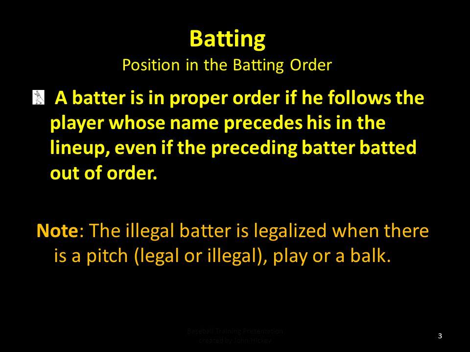 Baseball Training Presentation NFHS Rule 7 Batting Baseball Training Presentation created by John Hickey 2