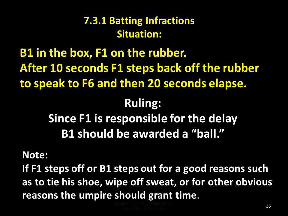7.3.1 Batting Infractions Situation: Baseball Training Presentation created by John Hickey 34 Ruling: Strike on the batter.