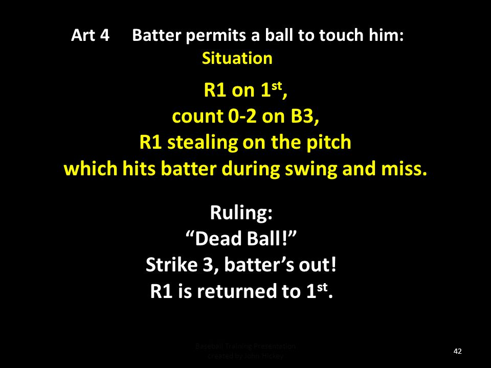41 Art.4 The Batter permits a pitched ball to touch him...