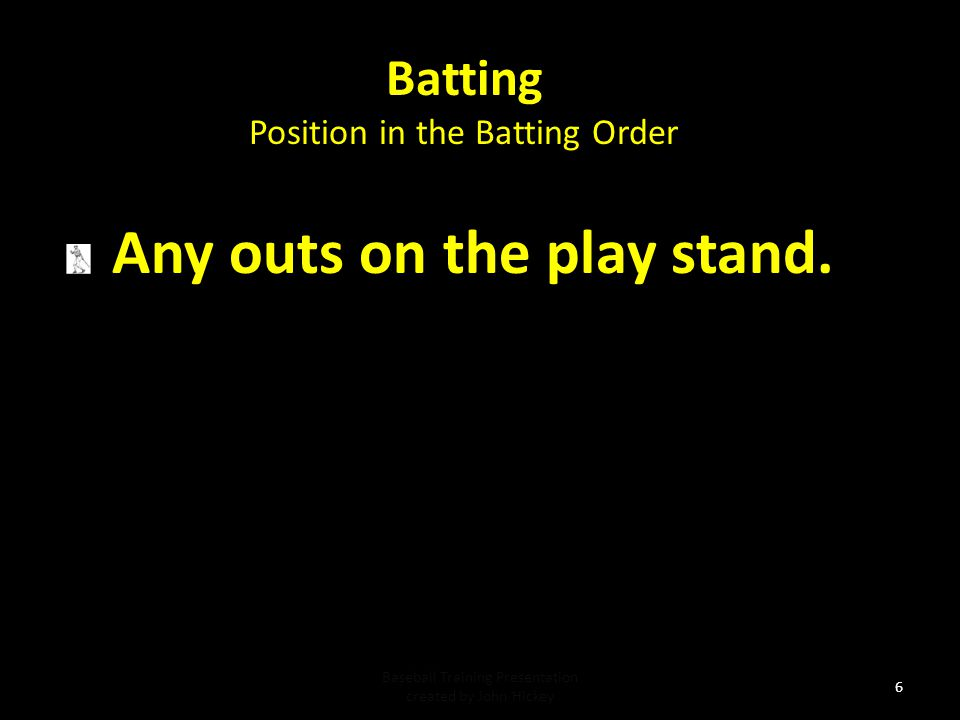 Batting Position in the Batting Order Baseball Training Presentation created by John Hickey 5 If discovered after the at bat and before the next pitch the defense (only the defense) may appeal and the proper batter will be called out and the correct batter is the batter that follows in the line up.