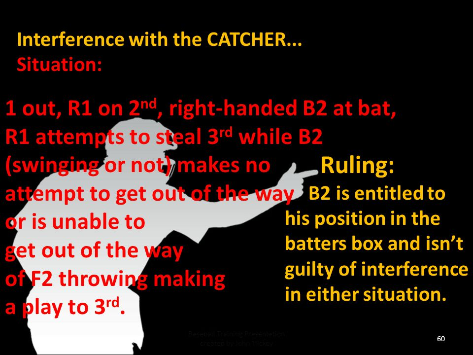 59 Baseball Training Presentation created by John Hickey Interference with the CATCHER...Situation: 1 out, R1 on 1 st, 0-2 on B3, R1 stealing on the pitch, B3 swings and misses strike 3 , and also interferes with F2 attempting play on R1.