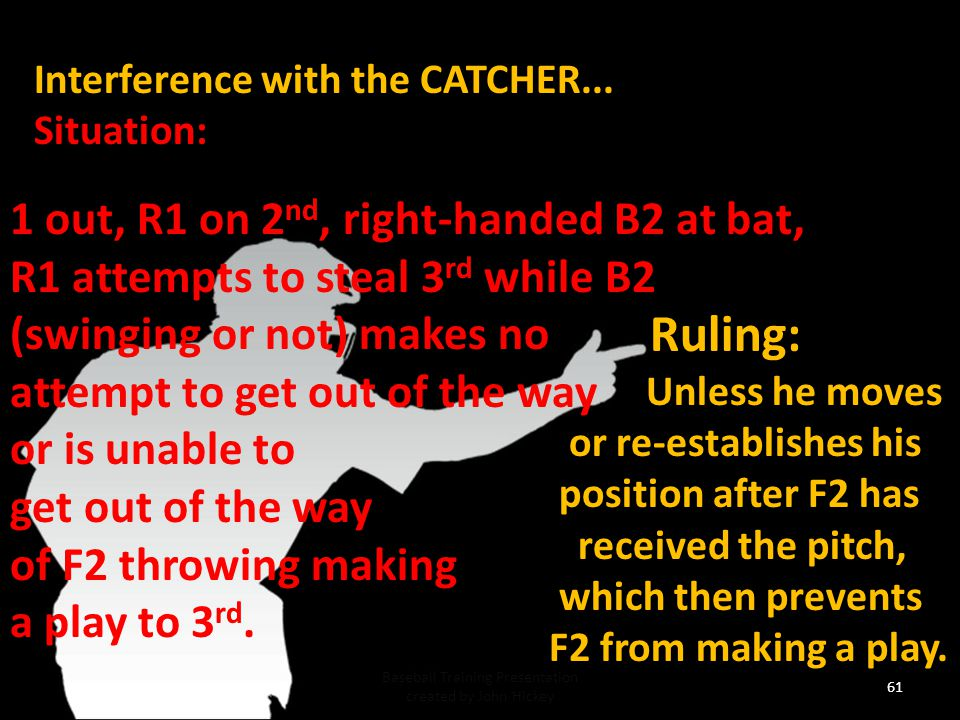 60 Baseball Training Presentation created by John Hickey Interference with the CATCHER...Situation: 1 out, R1 on 2 nd, right-handed B2 at bat, R1 attempts to steal 3 rd while B2 (swinging or not) makes no attempt to get out of the way or is unable to get out of the way of F2 throwing making a play to 3 rd.