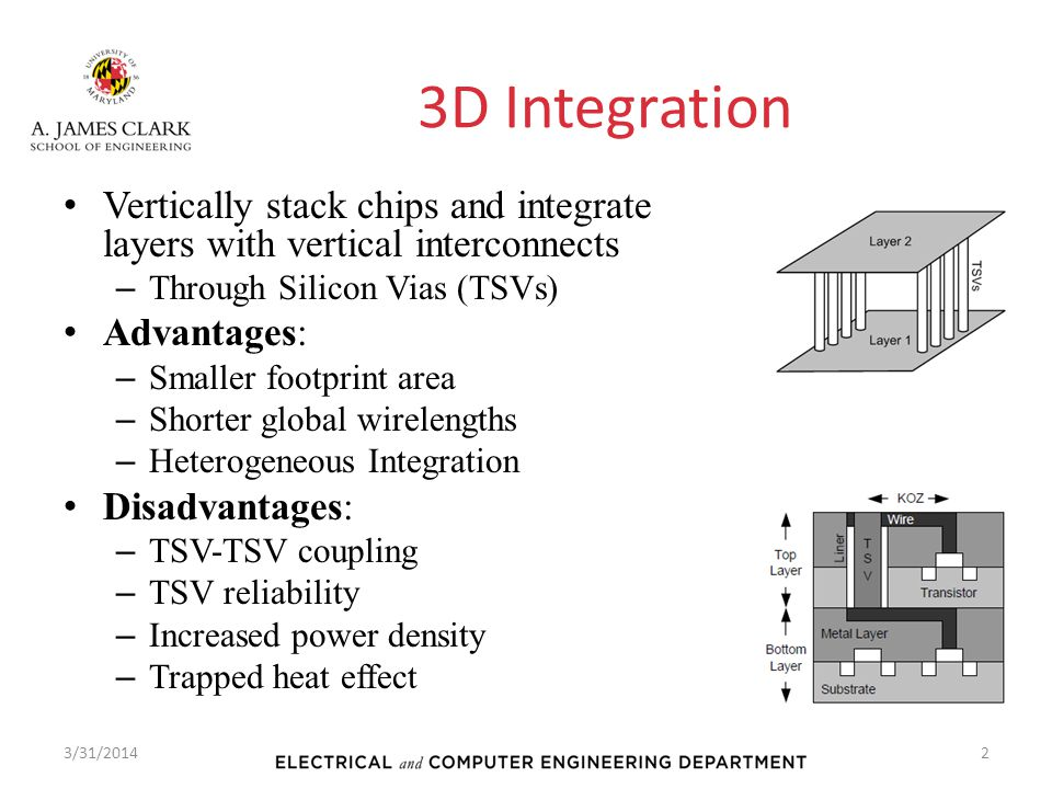 3D Integration V ertically stack chips and integrate layers with vertical interconnects –T–T hrough Silicon Vias (TSVs) A dvantages: –S–S maller footp