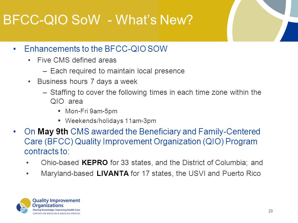20 BFCC-QIO SoW - What's New? Enhancements to the BFCC-QIO SOW Five CMS defined areas –Each required to maintain local presence Business hours 7 days