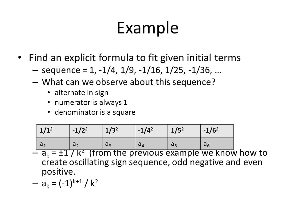 Example Find an explicit formula to fit given initial terms – sequence = 1, -1/4, 1/9, -1/16, 1/25, -1/36, … – What can we observe about this sequence