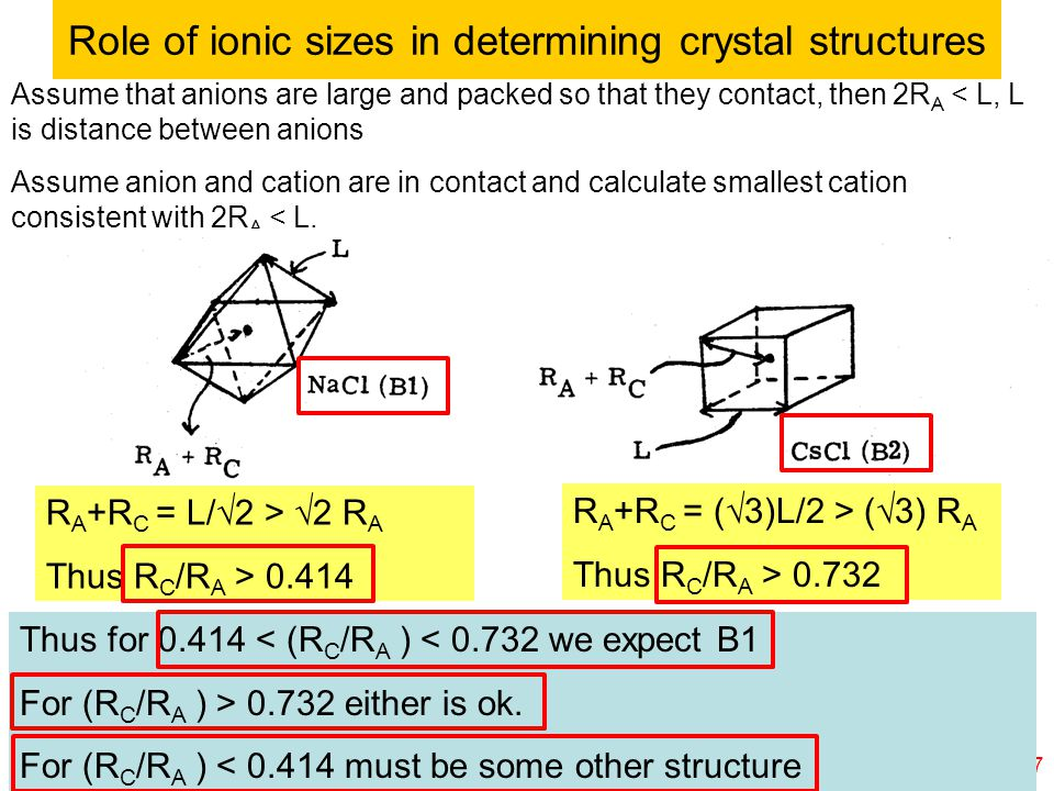 © copyright 2011 William A. Goddard III, all rights reservedCh120a-Goddard-L25 17 Role of ionic sizes in determining crystal structures Assume that an