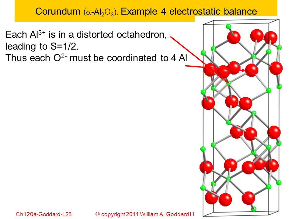 © copyright 2011 William A. Goddard III, all rights reservedCh120a-Goddard-L25 31 Corundum (  -Al 2 O 3 ). Example 4 electrostatic balance Each Al 3+