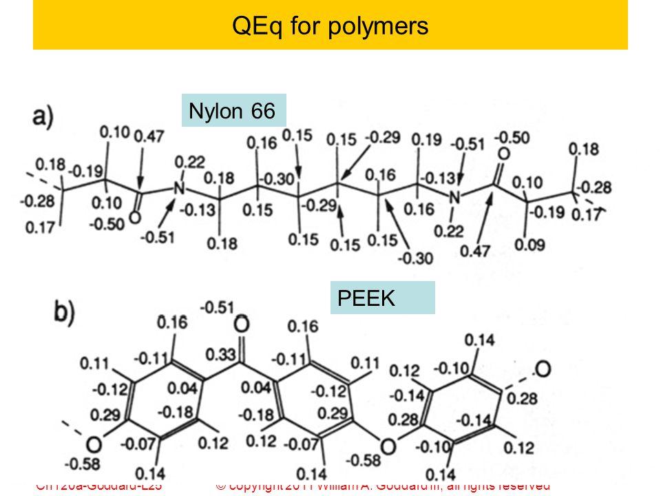 © copyright 2011 William A. Goddard III, all rights reservedCh120a-Goddard-L25 53 QEq for polymers Nylon 66 PEEK