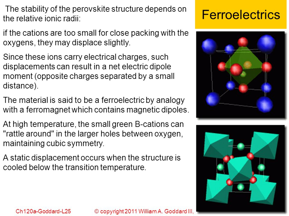 © copyright 2011 William A. Goddard III, all rights reservedCh120a-Goddard-L25 56 Ferroelectrics The stability of the perovskite structure depends on
