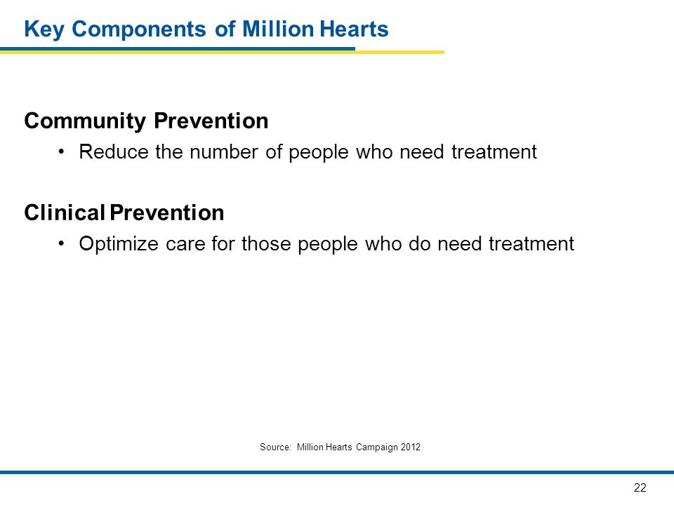 22 Key Components of Million Hearts Community Prevention Reduce the number of people who need treatment Clinical Prevention Optimize care for those pe