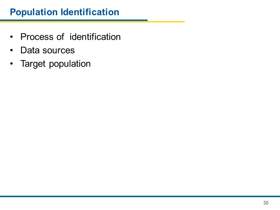 35 Population Identification Process of identification Data sources Target population