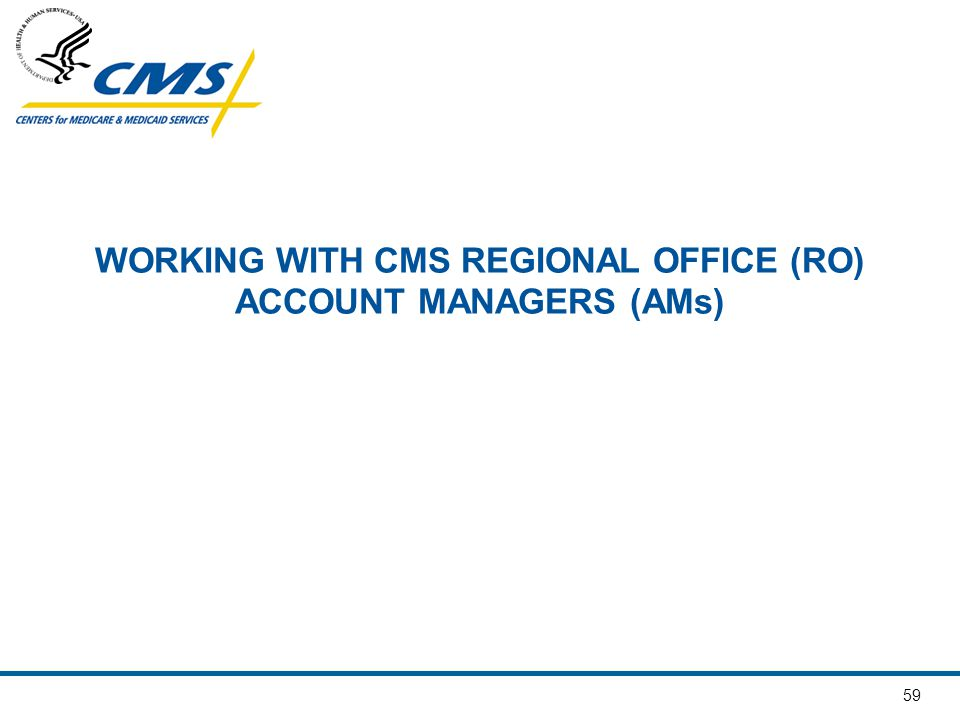 59 WORKING WITH CMS REGIONAL OFFICE (RO) ACCOUNT MANAGERS (AMs)