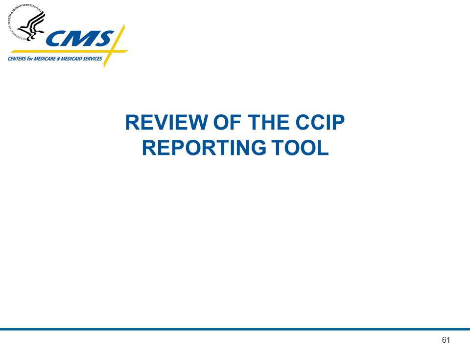 61 REVIEW OF THE CCIP REPORTING TOOL
