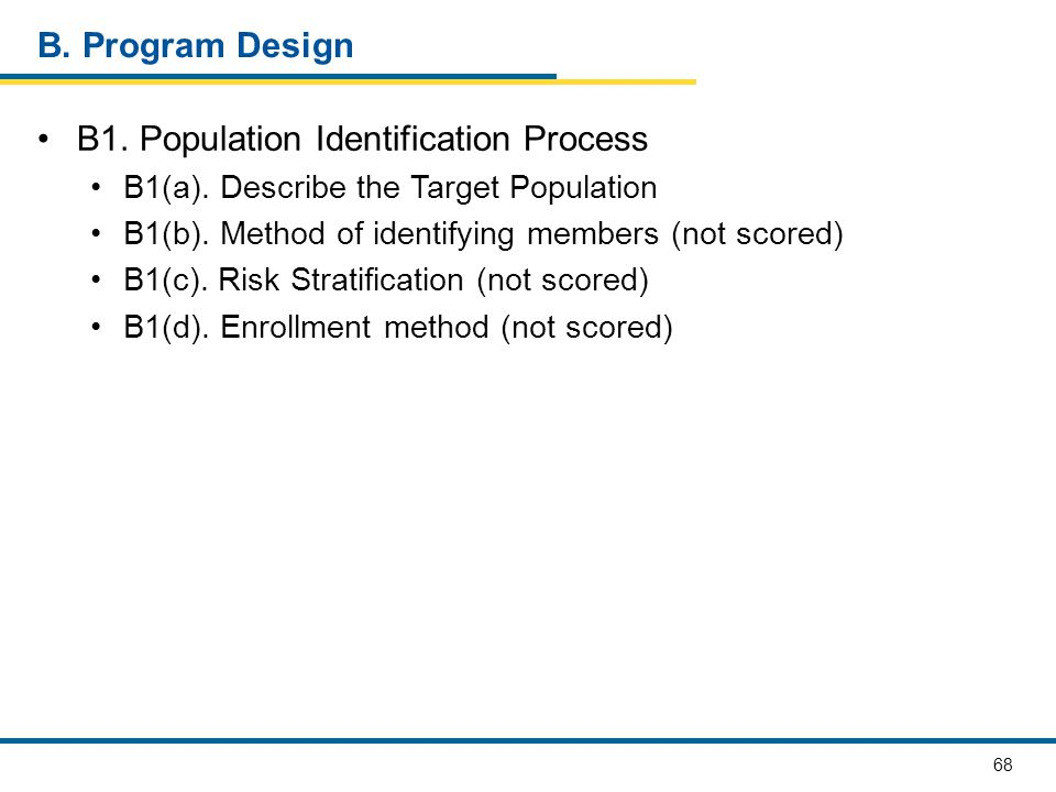 68 B. Program Design B1. Population Identification Process B1(a). Describe the Target Population B1(b). Method of identifying members (not scored) B1(