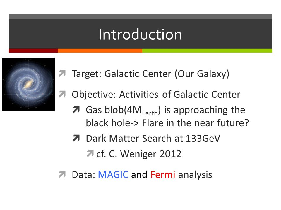 Introduction  Target: Galactic Center (Our Galaxy)  Objective: Activities of Galactic Center  Gas blob(4M Earth ) is approaching the black hole-> Flare in the near future.
