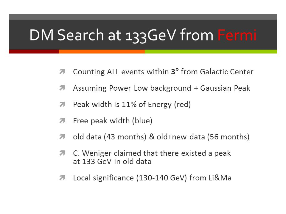 DM Search at 133GeV from Fermi  Counting ALL events within 3° from Galactic Center  Assuming Power Low background + Gaussian Peak  Peak width is 11% of Energy (red)  Free peak width (blue)  old data (43 months) & old+new data (56 months)  C.