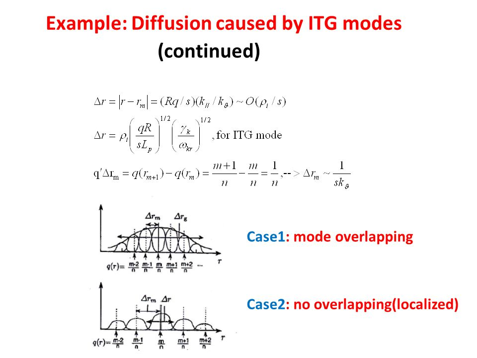 Example: Diffusion caused by ITG modes (continued) Case1: mode overlapping Case2: no overlapping(localized)