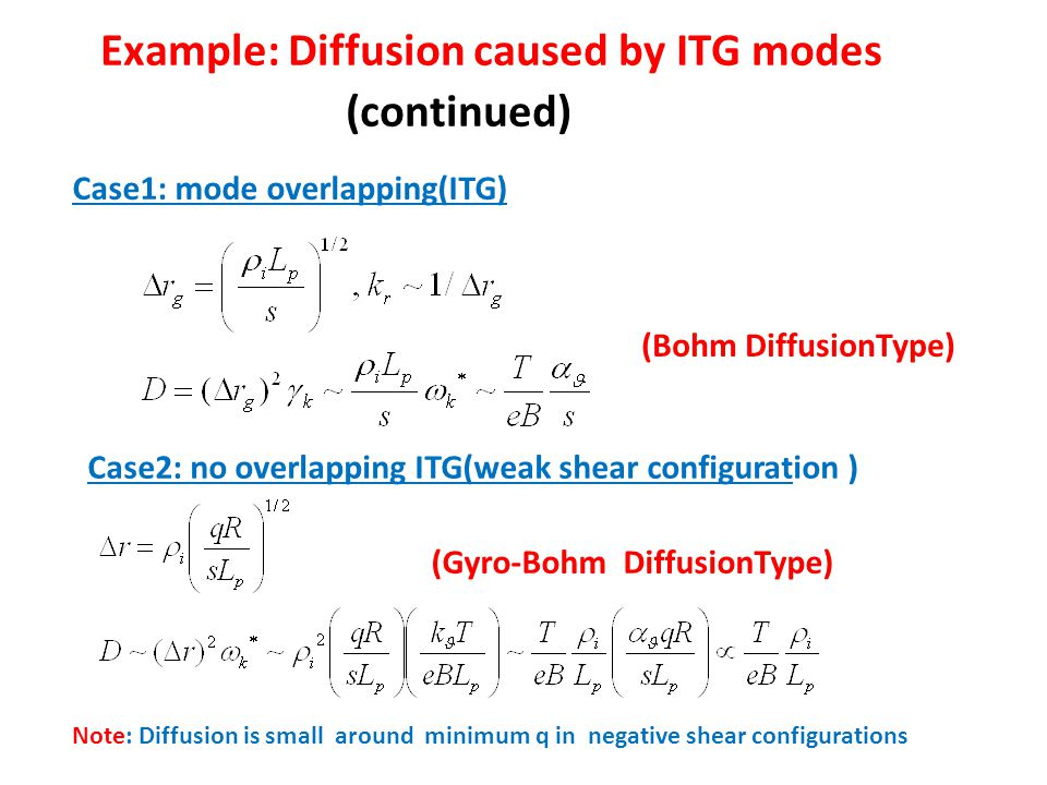 Example: Diffusion caused by ITG modes (continued) Case1: mode overlapping(ITG) (Bohm DiffusionType) Case2: no overlapping ITG(weak shear configuration ) (Gyro-Bohm DiffusionType) Note: Diffusion is small around minimum q in negative shear configurations