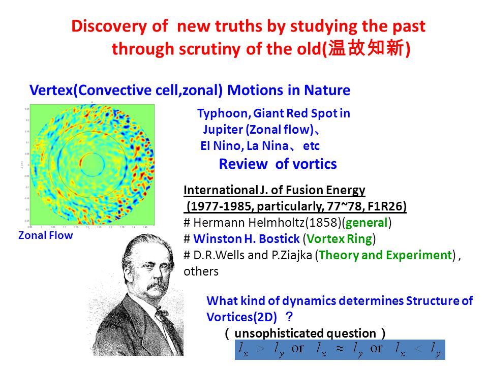 Discovery of new truths by studying the past through scrutiny of the old( 温故知新 ) Zonal Flow Typhoon, Giant Red Spot in Jupiter (Zonal flow) 、 El Nino, La Nina 、 etc Review of vortics International J.