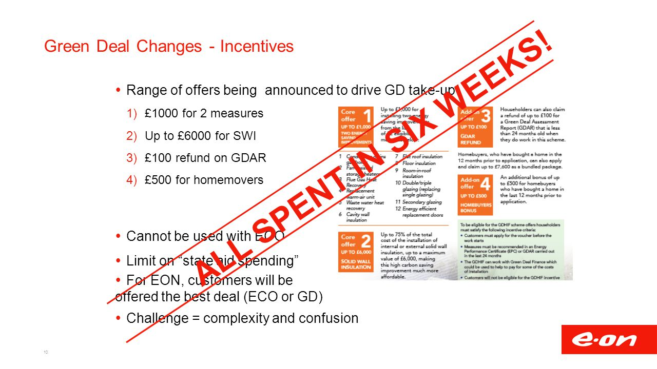 Green Deal Changes - Incentives 10  Range of offers being announced to drive GD take-up 1)£1000 for 2 measures 2)Up to £6000 for SWI 3)£100 refund on