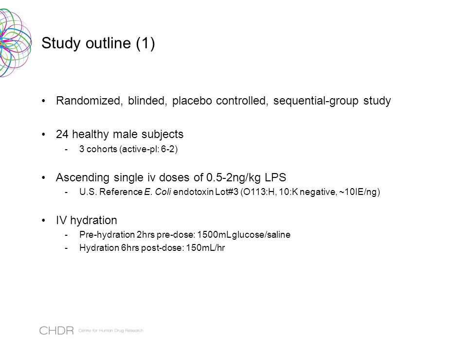 Study outline (1) Randomized, blinded, placebo controlled, sequential-group study 24 healthy male subjects -3 cohorts (active-pl: 6-2) Ascending single iv doses of 0.5-2ng/kg LPS -U.S.