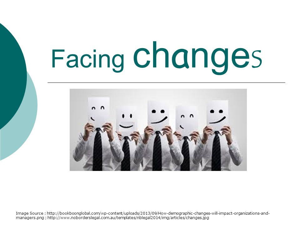 Facing changes Image Source : http://bookboonglobal.com/wp-content/uploads/2013/09/How-demographic-changes-will-impact-organizations-and- managers.png ; http://www.noborderslegal.com.au/templates/nblegal2014/img/articles/changes.jpg