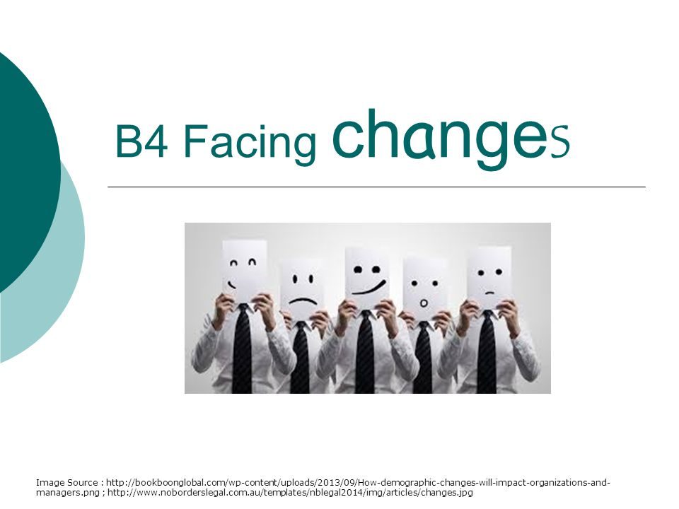 B4 Facing changes Image Source : http://bookboonglobal.com/wp-content/uploads/2013/09/How-demographic-changes-will-impact-organizations-and- managers.png ; http://www.noborderslegal.com.au/templates/nblegal2014/img/articles/changes.jpg