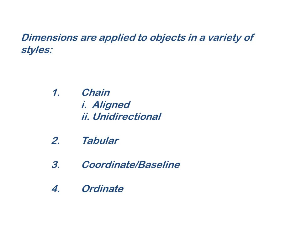 Dimensions are applied to objects in a variety of styles: 1.Chain i. Aligned ii. Unidirectional 2.Tabular 3.Coordinate/Baseline 4.Ordinate