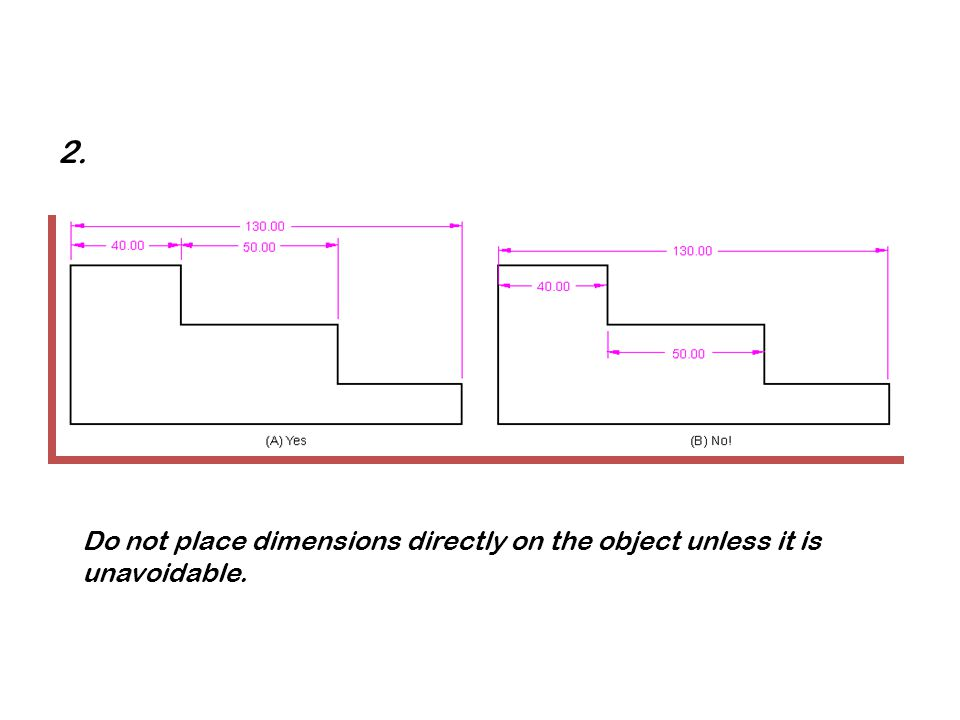Do not place dimensions directly on the object unless it is unavoidable. 2.
