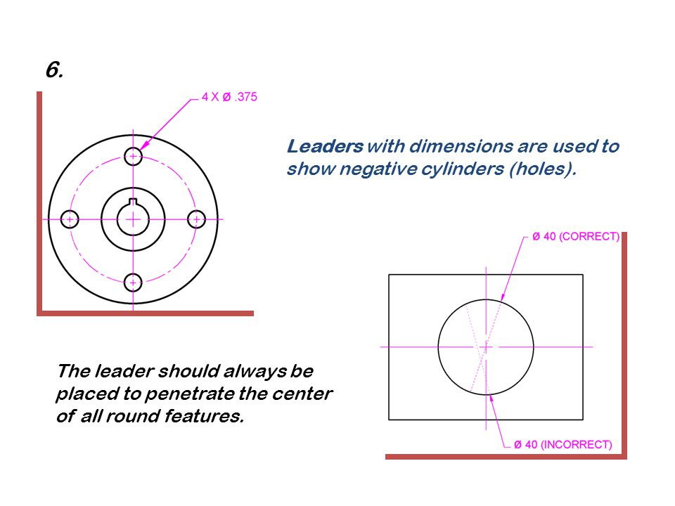 Leaders with dimensions are used to show negative cylinders (holes). The leader should always be placed to penetrate the center of all round features.