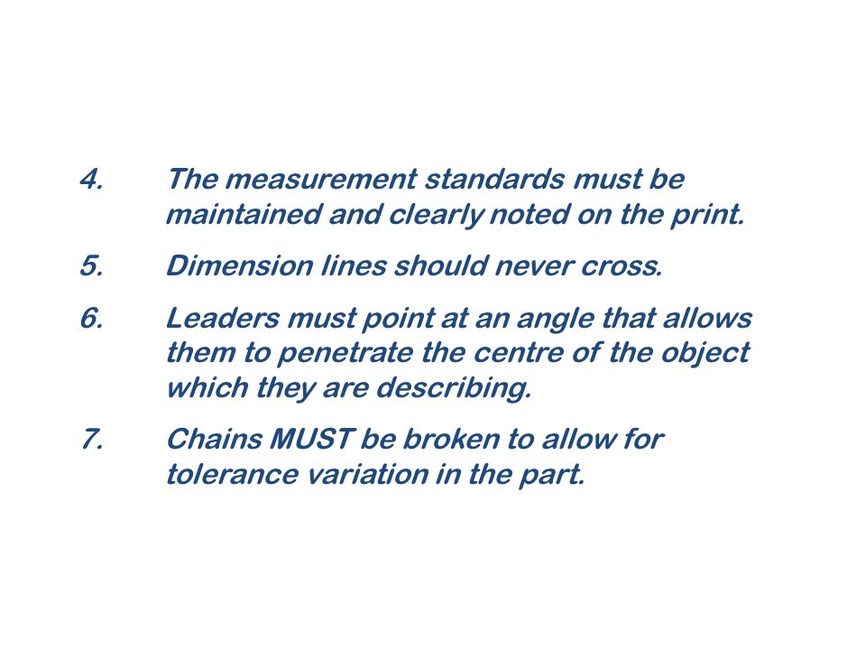 4.The measurement standards must be maintained and clearly noted on the print. 5.Dimension lines should never cross. 6.Leaders must point at an angle