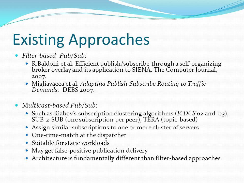 Existing Approaches Filter-based Pub/Sub: R.Baldoni et al.