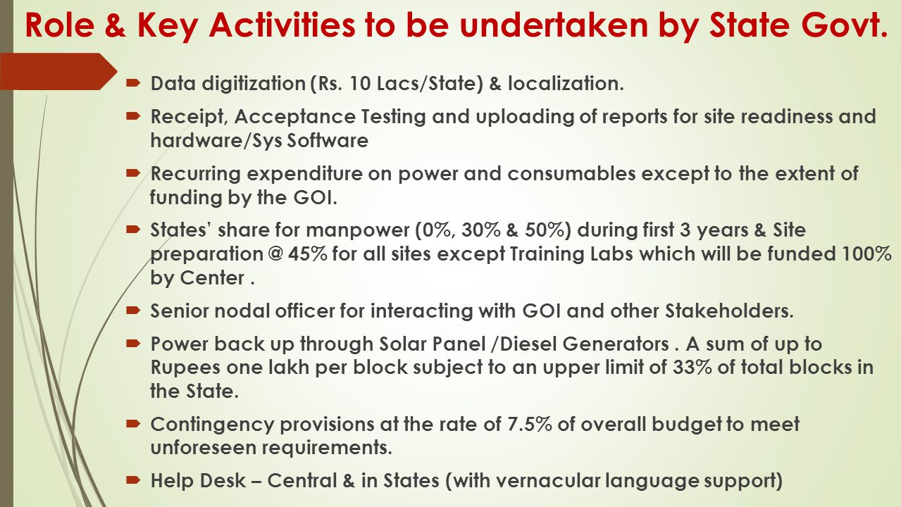 Role & Key Activities to be undertaken by State Govt.  Data digitization (Rs. 10 Lacs/State) & localization.  Receipt, Acceptance Testing and upload